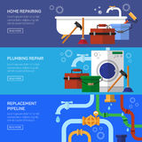Plumbing repair fix the clog pipeline Stock Photos