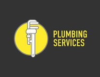 Plumbing repair wrench line flat icon. Logo concept for plumbers. Royalty Free Stock Photo