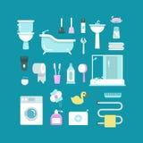 Plumbing, sanitary engineering, hygiene vector icons. Sink, toilet, piping, bathroom Royalty Free Stock Images