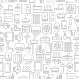 Plumbing seamless pattern. Background for sanitary engineering shop. Sale, service and installation Stock Image