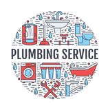 Plumbing service banner illustration. Vector line icons of house bathroom equipment, faucet, toilet, pipeline, washing. Machine, water filter. Plumber repair Stock Photos