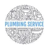 Plumbing service banner illustration. Vector line icons of house bathroom equipment, faucet, toilet, pipeline, washing. Machine, water filter. Plumber repair Stock Image