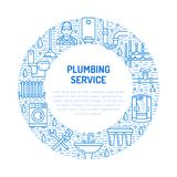 Plumbing service blue banner illustration. Vector line icon of house bathroom equipment, faucet, toilet, pipeline Stock Images