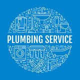 Plumbing service blue banner illustration. Vector line icon of house bathroom equipment, faucet, toilet, pipeline Stock Photos