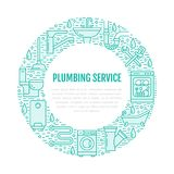 Plumbing service blue banner illustration. Vector line icon of house bathroom equipment, faucet, toilet, pipeline Royalty Free Stock Photography