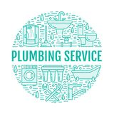 Plumbing service blue banner illustration. Vector line icon of house bathroom equipment, faucet, toilet, pipeline Royalty Free Stock Image