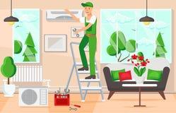 Maintenance Air Conditioners. Vector Illustration. royalty free illustration