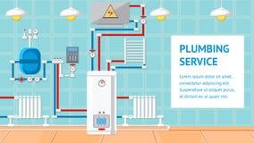 Plumbing Service Flat Design Vector Illustration royalty free illustration
