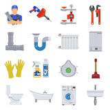 Plumbing Service Flat Icons Set Royalty Free Stock Photos