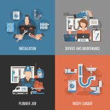 Plumbing service 4 flat icons square Royalty Free Stock Image