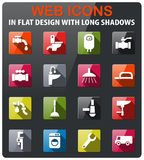 Plumbing service icon set. Plumbing service icons set in flat design with long shadow Royalty Free Stock Image