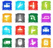Plumbing service icon set Royalty Free Stock Image