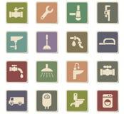Plumbing service icon set Stock Photo