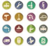 Plumbing service icon set Stock Photography