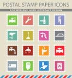 Plumbing service icon set Stock Images