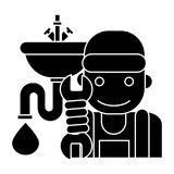 Plumbing service icon, vector illustration, black sign on isolated background Royalty Free Stock Image