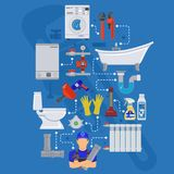 Plumbing Service Infographics Royalty Free Stock Photo