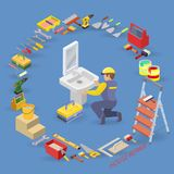 Plumbing service. Isometric interior repairs concept. Worker, equipment and items isometric icon. Plumber in uniform, professional tools and sink. Vector flat Stock Photo