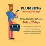 Plumbing service. Plumber character with the professional tool kit and wrench. Cool concept for plumbing services 24/7 banners and advertisements, web banners Royalty Free Stock Image