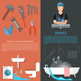 Plumbing service professional plumber tools banners Royalty Free Stock Photo