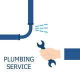 Plumbing service, repair fix leaking. Vector illustration flat design. Fixing pipe. Maintenance water pipe Royalty Free Stock Images