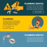 Plumbing service sewerage and leakeage repair vector web banners of bathroom toilet or kitchen plumber equipment. Plumbing service or home sewerage and pipeline Stock Photo