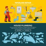 Plumbing service sewerage repair vector web banners of bathroom toilet or kitchen plumber equipment. House plumbing and home sewerage pipeline repair service web Stock Photos
