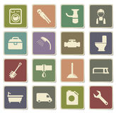 Plumbing service simply icons Royalty Free Stock Photos