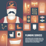 Plumbing service template design element vector stock illustration