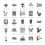 Plumbing service vector flat glyph icons. House bathroom equipment, faucet, toilet, pipeline, washing machine. Dishwasher. Plumber repair illustration, solid Stock Photos