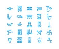 Plumbing service vector flat line icons. House bathroom equipment, faucet, toilet, pipeline, washing machine, dishwasher. Plumber repair illustration, signs vector illustration