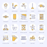 Plumbing service vector flat line icons. House bathroom equipment, faucet, toilet, pipeline, washing machine, dishwasher Stock Photography