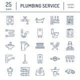Plumbing service vector flat line icons. House bathroom equipment, faucet, toilet, pipeline, washing machine, dishwasher. Plumber repair illustration, thin Stock Photo