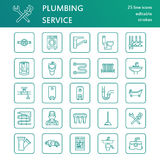 Plumbing service vector flat line icons. House bathroom equipment, faucet, toilet, pipeline, washing machine, dishwasher. Plumber repair illustration, thin Royalty Free Stock Images