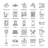 Plumbing service vector flat line icons. House bathroom equipment, faucet, toilet, pipeline, washing machine, dishwasher. Plumber repair illustration, thin Stock Photography