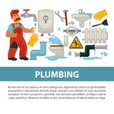 Plumbing service vector poster of bathroom toilet or kitchen plumber equipment. House plumbing service poster of plumber work tools. Vector flat desing of Royalty Free Stock Photography