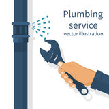 Plumbing service vector. Professional plumber with an adjustable wrench hold in hand repairing plumbing, isolated. Plumbing service,  repair fix leaking. Vector Stock Images