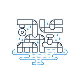 Plumbing services concept, dropping water from pipes Royalty Free Stock Photography