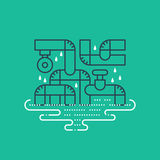 Plumbing services concept, dropping water from pipes Stock Images