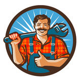 Plumbing services. plumber holding wrench. vector illustration Stock Image