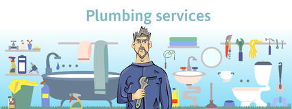 Plumbing services. Plumber man holding a wrench. Horizontal vector illustration for header of web site or brochure. Royalty Free Stock Image