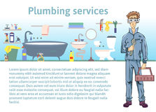 Plumbing services. Plumber man holding a wrench. Vector illustration with copy space, template for advertising flyer Royalty Free Stock Photo
