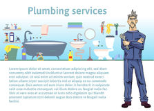Plumbing services. Plumber man holding a wrench. Vector illustration with copy space, template for advertising flyer Royalty Free Stock Images