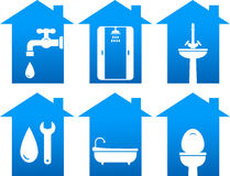 Plumbing set of bathroom icons Stock Photo