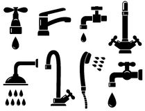Plumbing set with isolated faucet icons Royalty Free Stock Photos