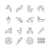 Plumbing, sewerage, pipe, faucet thin line vector icons set Stock Photos