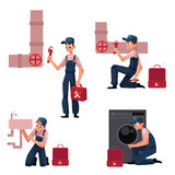 Plumbing specialist at work, repairing sewage pipes, sink, washing machine Royalty Free Stock Photography