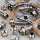 Plumbing tools for connecting water taps. Background Stock Image