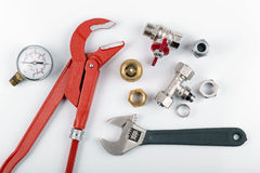 Plumbing tools and equimpent  on white Royalty Free Stock Photo