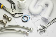Plumbing tools and fittings Royalty Free Stock Photos
